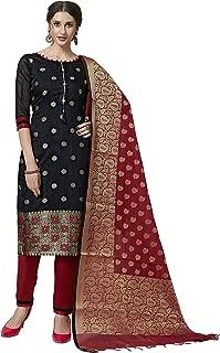 Maroosh Women'S Silk Fabric Black Color Chudidar Free Size Dress Material