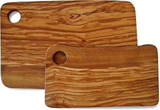 Set of 2 Rectangular Cutting Boards for Food Preparation and Presentation - Premium Solid Natural Olive Wood Reversible Chopping Board MADE IN ITALY - Perfect in kitchen, on table or to share food at