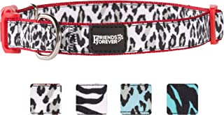 Friends Forever Pattern Dog Collar for Dogs, Fashion Print Leopard Zebra Cute Puppy Collar, Available in Size Small/Medium/Large