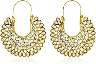 Crunchy Fashion Bollywood Style Traditional Indian Jewelry Pearl & Crystal Hoop Earrings for Women