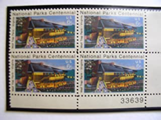 US 1972 Postal Stamps, National Parks Centennial, S# 1452, PB of 4 6 Cent Stamps