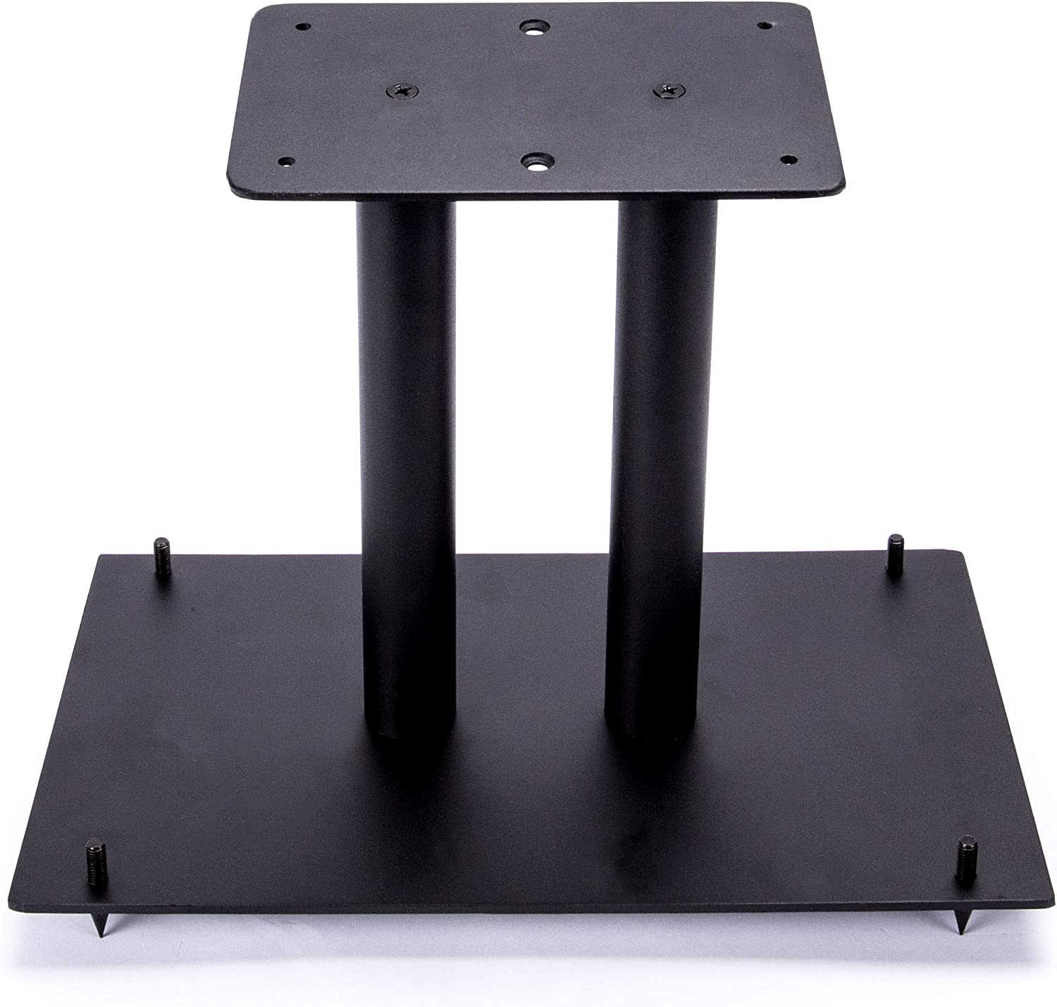 "13"" Heavy Duty, Steel Center Channel Speaker Stand   Fillable   For Medium to Large Speakers   Comes with Steel Carpet Spikes   By Vega A V Systems   15.5"" x 9.5"" Base, 5.5"" x 9"" Speaker Pedestal"