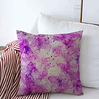 Throw Pillow Case Life Delicate Blooming Lilacs Drips Spray Water Paint Watercolor Souvenirs Abstract Design Sketch Farmhouse Square Pillows Covers 16