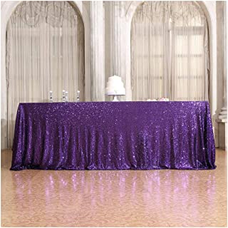 Poise3EHome 50×72'' Rectangle Sequin Tablecloth for Party Cake Dessert Table Exhibition Events, Purple