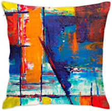 Freestyle28 Colors Abstract Painting Decorative Home Pillow Covers Square 18x18 Inch (Insert Not Include)
