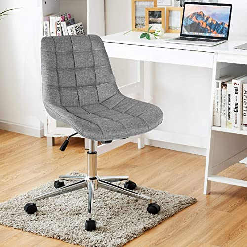 wholesale Giantex online Modern Home Office Chair, Fabric Armless Leisure Chair w/Stable Metal Base and Rocking Function, 2021 Height-Adjustable Desk Chair, Ergonomic Task Chair, Linen Padded Mid-Back Office Chair sale