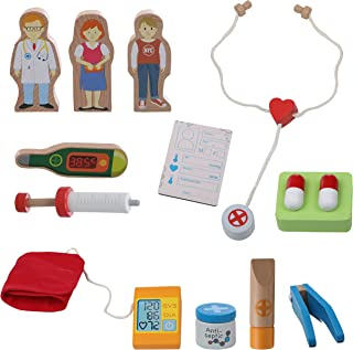 Top Right Toys My First Medical Kit-12 Piece Wooden Doctor Kit Pretend Play Set for Kids and Toddlers
