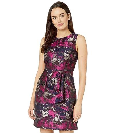 Vince Camuto Jacquard Sleeveless Dress w/ Front Ruffle (Navy Multi) Women