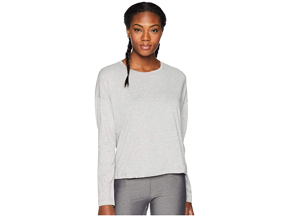New Balance Heather Tech Long Sleeve Top (Athletic Grey Heather/White) Women