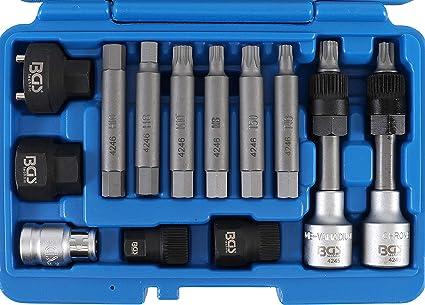 Bgs 4246 Lichtmaschinen Bit Bit Einsatz Satz 13 Tlg Antrieb 12 5 Mm 1 2 Inkl Adapter Für Diverse Fahrzeuge Auto