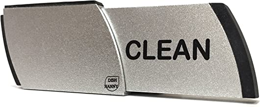 Premium Metal Dishwasher Magnet Clean Dirty Sign | Contemporary Indicator - Best Kitchen Gadgets for All Dishwashers - For Home or Office Organization Using Padded Magnets or 3M Tabs (Black Lettering)