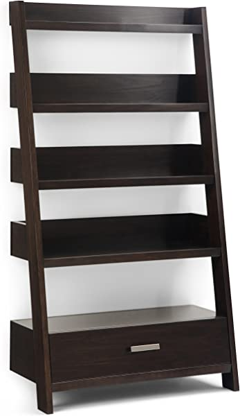 Simpli Home AXCDNA 15 BR Deanna Solid Wood 66 Inch X 36 Inch Contemporary Ladder Shelf In Dark Chestnut Brown