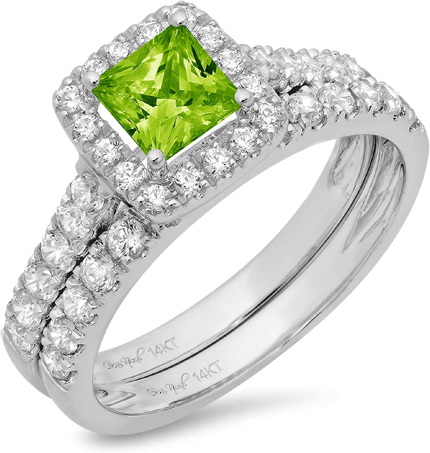 1.54ct Princess Cut Halo Pave Solitaire with Accent VVS1 Ideal Flawless Genuine Natural Vivid Green Peridot Engagement Promise Designer Anniversary Wedding Bridal Ring band set 14k White Gold
