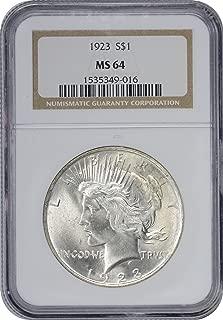 1923-P Peace Dollar, MS64, NGC