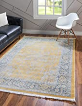 Unique Loom Baracoa Collection Bright Tones Vintage Traditional Yellow Area Rug (4' 3 x 6' 0)