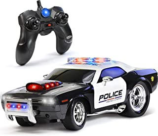 KidiRace Remote Control Police Car Toy with Lights and Sirens for Boys - Rechargeable Cop Car -...