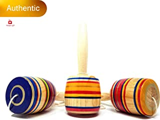 New   Alondra's Imports (TM) Elegantly Handcrafted, Classic Wooden Baleros, Made in Mexico (Valero, Baleros Mexicanos, Balero Toy from Mexico) Unique Assorted Colors - Set of 3