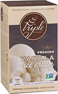 Triple Scoop Ice Cream Mix, Premium Vanilla, starter for use with home ice cream maker, non-gmo, no artificial colors or flavors, ready in under 30 mins, makes 2 qts (1 15oz box)