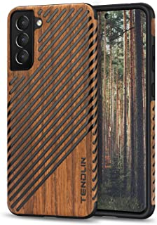 TENDLIN Compatible with Samsung Galaxy S21 Case Wood Grain and Leather Outside Design TPU Hybrid Case (Wood & Leather)
