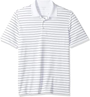 Amazon Essentials Men's Regular-Fit Quick-Dry Stripe Golf Polo Shirt, White, X-Small