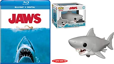 """""""We`re Going To Need To Get A Bigger Boat"""" Blu-Ray Bundle Steven Spielberg`s Jaws Blu-Ray & 6"""" Pop! Movies Great White Shark Figure 758 2 Pack"""