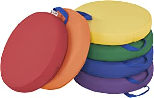 "ECR4Kids SoftZone Floor Cushions with Handles, 2"" Deluxe Foam, Round, Assorted, (6-Pack)"