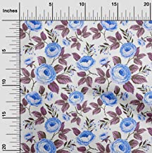 oneOone Cotton Poplin Fabric Leaves & Floral Artistic Fabric Prints by Meter 42 Inch Wide