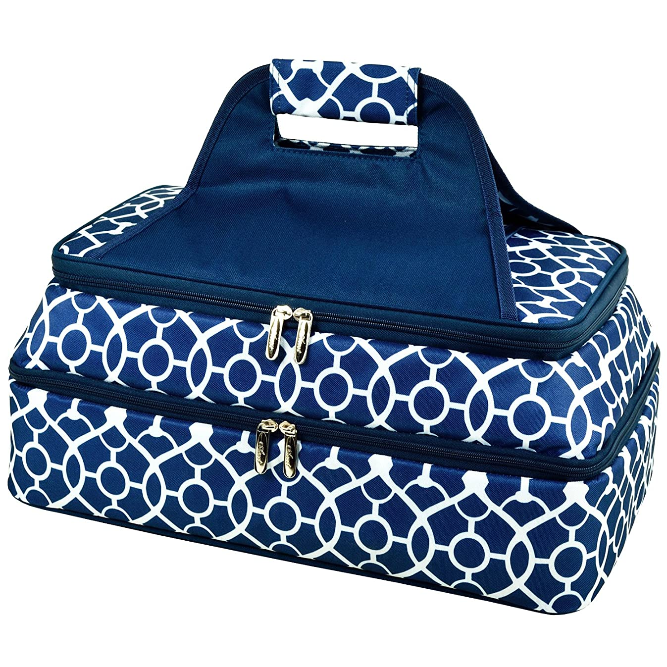 Picnic at Ascot - Two Layer - Hot/Cold Thermal Food and Casserole Carrier (Trellis Blue)