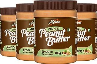 Alpino Organic Natural Peanut Butter Smooth 1.6 KG - Super Saver Pack [Unsweetened / Gluten Free / Non-GMO / Vegan (400 G,...