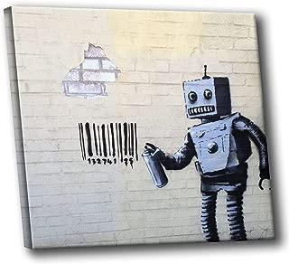 Banksy Street Graffiti Coney Island Robot Barcode Gallery Stretched HD Canvas Wall Art