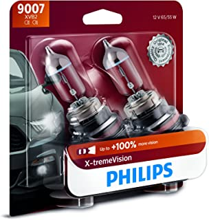 Philips 9007 X-tremeVision Upgrade Headlight Bulb with up to 100% More Vision, 2 Pack