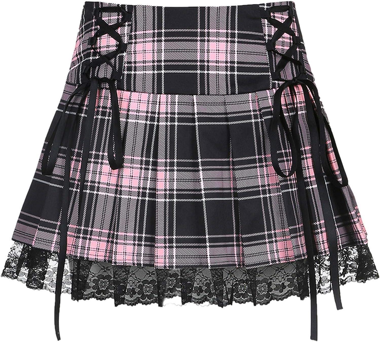 Women Girls Pleated Plaid Mini Skirt Lace Patchwork High Waist Y2k Harajuku Goth Short Skirts