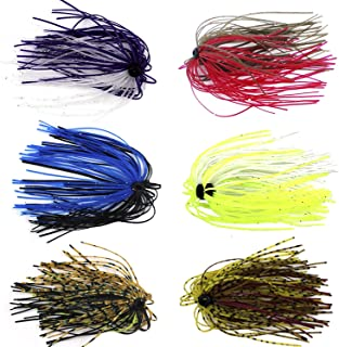 Silicone Jig Skirts DIY Rubber Fishing Jig Lures 12 Bundles 50 Strands Fishing Bait Accessories Spinnerbaits Buzzbaits Spoon Blade Squid Skirt Replacement Part, Fly Tying Material Color Random