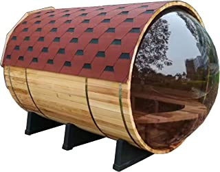 ALEKO SB5ABPI Pine Wood Indoor Outdoor Wet Dry Barrel Sauna with 4.5 kW ETL Certified Heater 5 Person 71L x 71D Inches