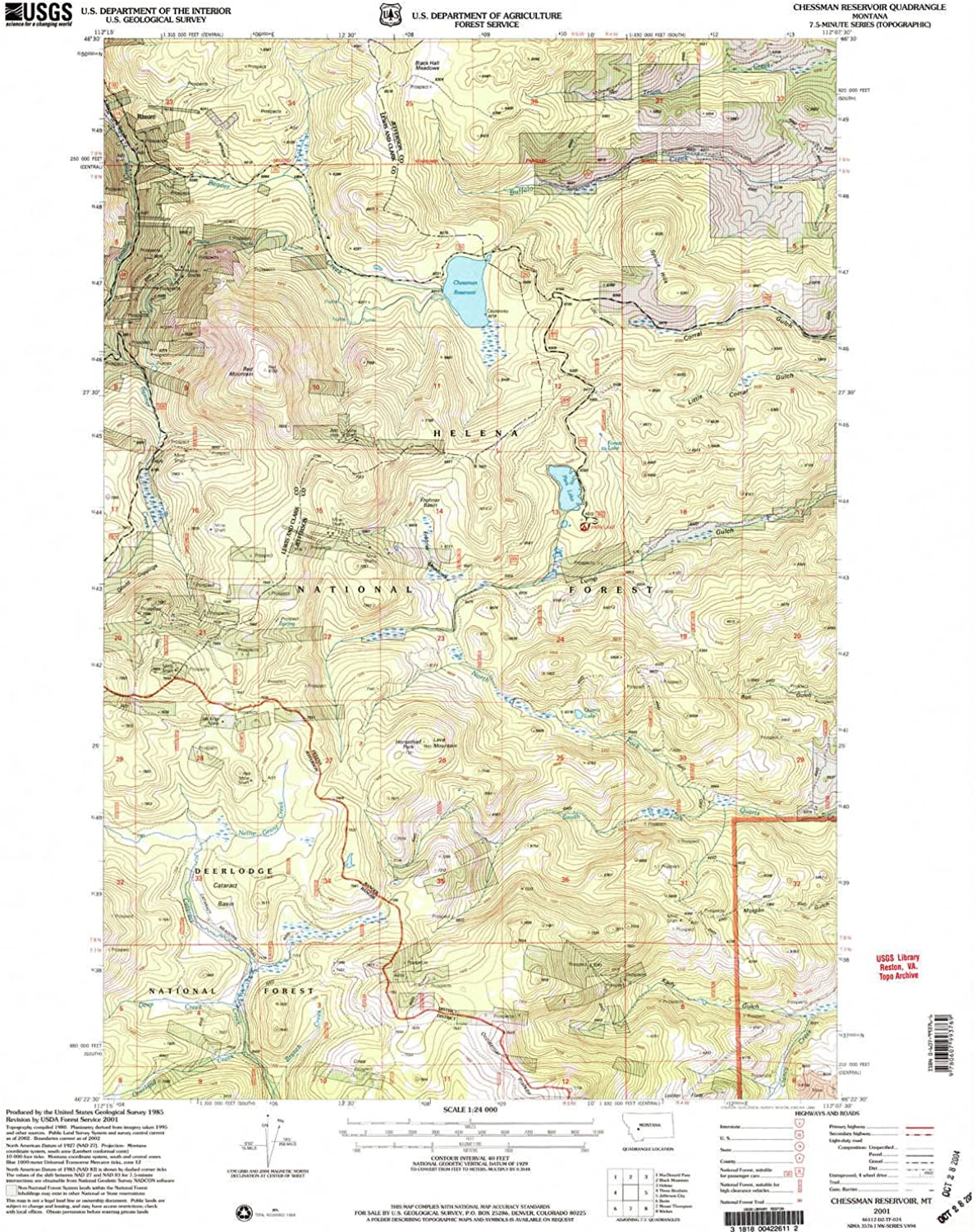 Chessman Reservoir MT topo map, 1 24000 Scale, 7.5 X 7.5 Minute, Historical, 2001, Updated 2004, 26.8 x 22.1 in