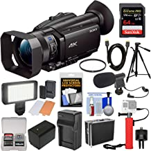Sony Handycam FDR-AX700 4K HD Video Camera Camcorder with 64GB Card + Battery & Charger + Tripod + Power Bank Hand Grip + Hard Case + LED Light + Mic + Filter + Kit