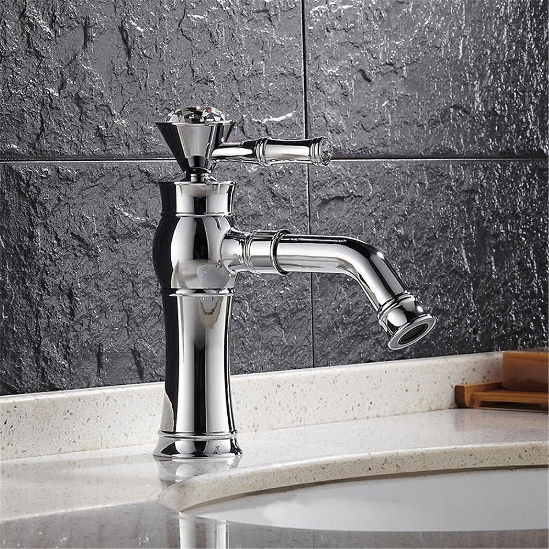 IJIAHOMIE Style of Bathroom Sink Taps, Bathroom Faucets,Waterfall Basin Sink Mixer Tap Modern Full Copper Rhinestone Basin Plating Kitchen Sink
