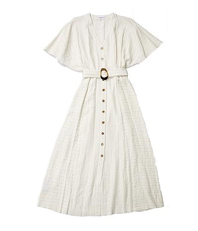 Calvin Klein Short Sleeve Maxi Dress with Tie Belt (White Multi) Women