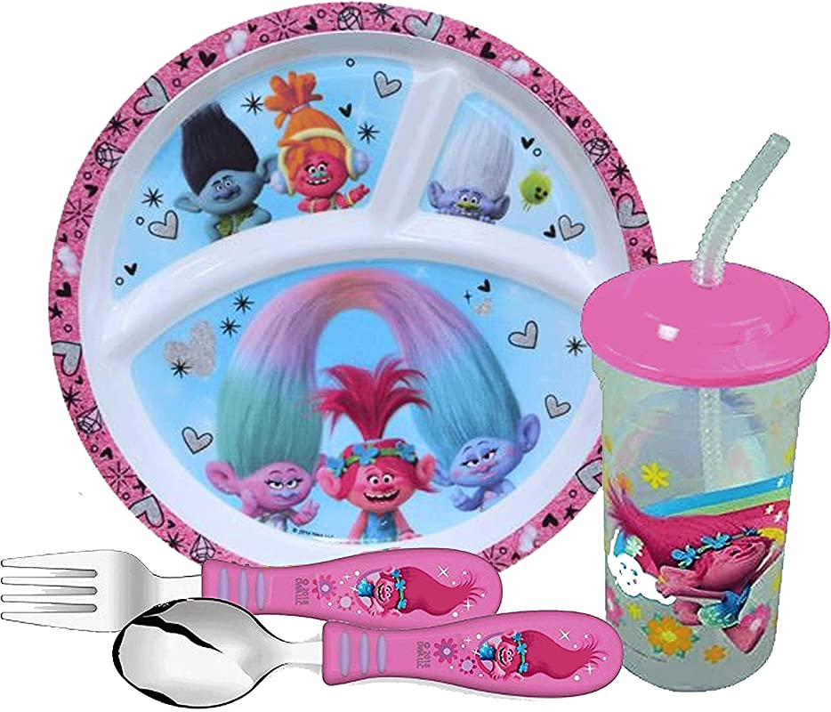 Zak Designs Girl S Trolls Dinnerware Set Includes Sectioned Plate Fork Spoon Tumbler Cup Featuring Poppy DJ Suki Branch Guy Diamond BPA Free 4pc Set