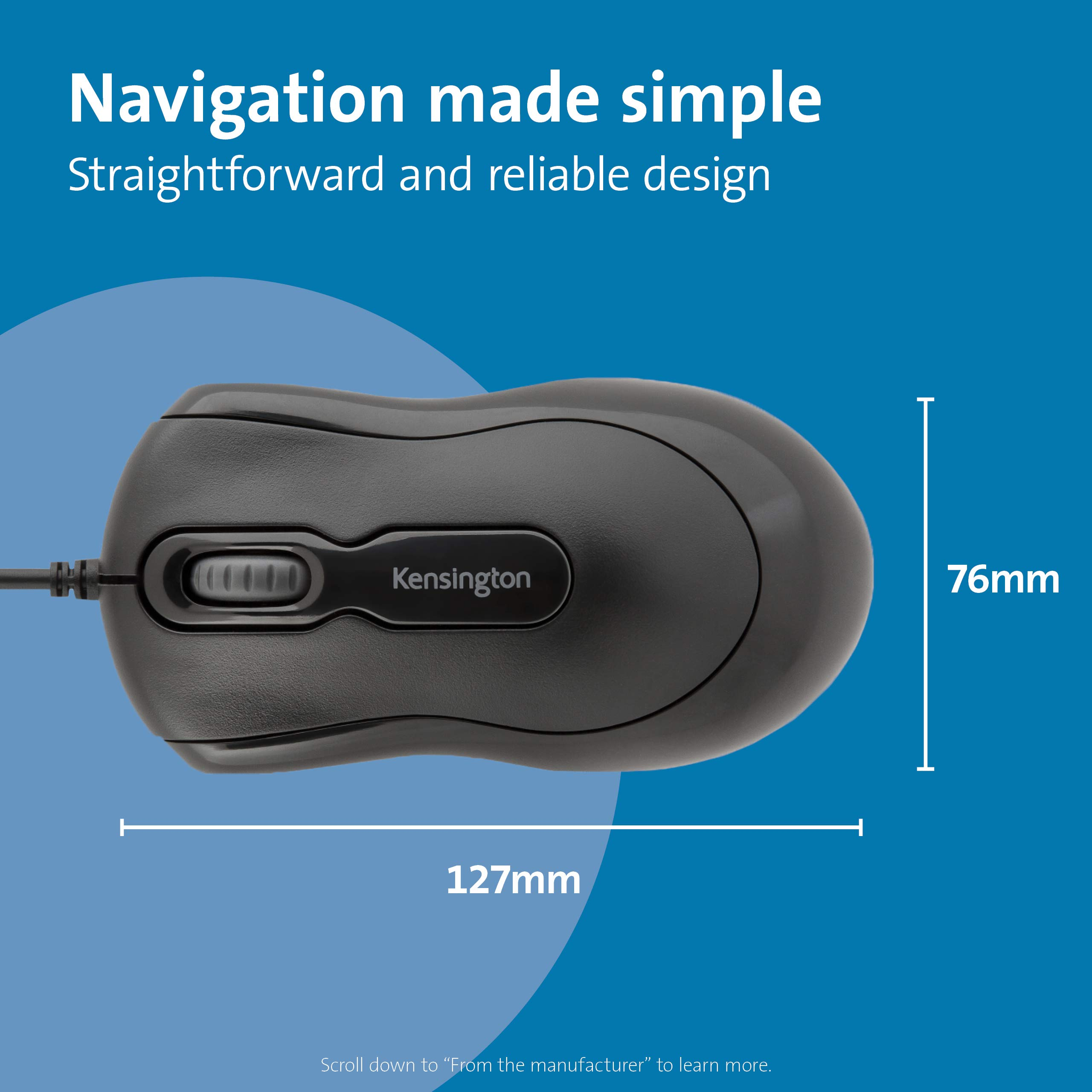 Kensington Wired USB 3.0 Mouse - Mouse-in-a-Box Wired Optical USB Desktop Mouse, Ambidextrous Design with Scroll Wheel Computer Mouse - Black (K72356EU)