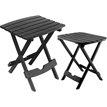 Adams Manufacturing 8592-02-3730 Quik-Fold Side Table & Tag-Along Table Bundle, Black