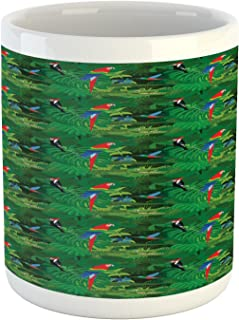 Lunarable Alligator Mug, Realistic Illustration of Tropical Fauna with Parrot Woodpecker and Palm Leaves, Printed Ceramic Coffee Mug Water Tea Drinks Cup, Multicolor