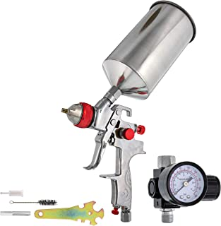 TCP Global Professional Gravity Feed HVLP Spray Gun with a 1.4mm Fluid Tip, 1 Liter Aluminum Cup and Air Regulator