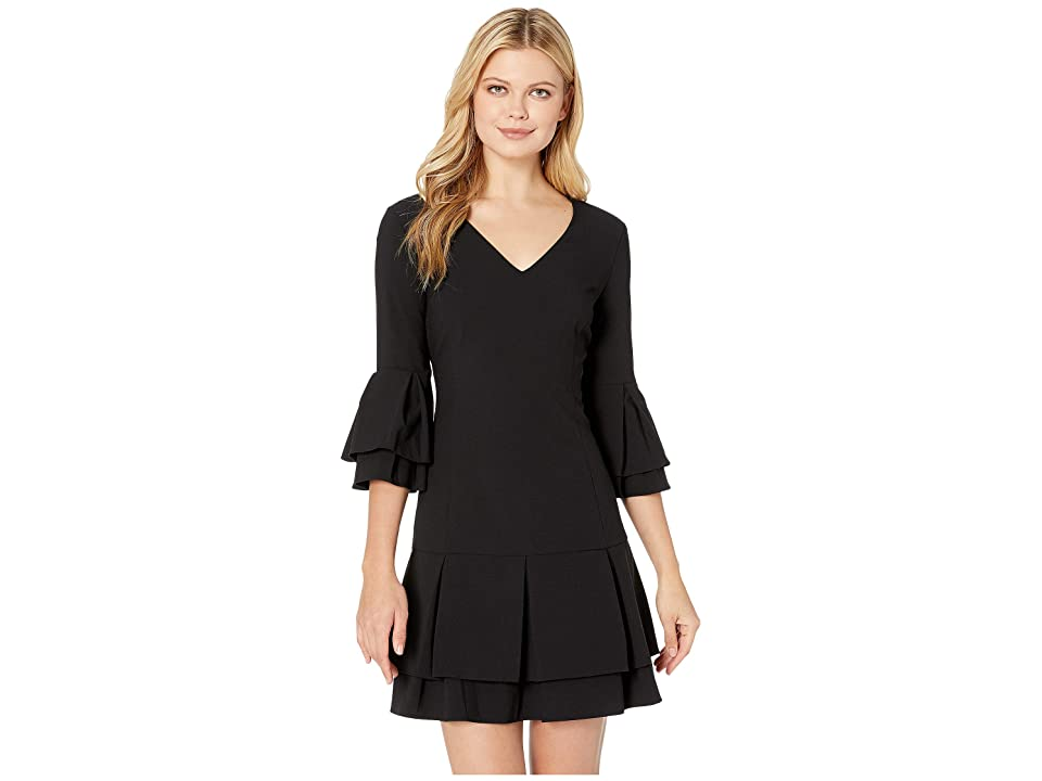 Laundry by Shelli Segal V-Neck Tiered Pleated Dress (Black) Women