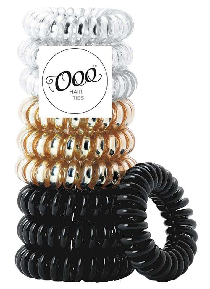 10 pack Painless PATENTED OOO Hair Ties. Ponytail holder spiral coil traceless rubber bands. for all types of hair. LARGE SIZE (Black,Gold,Silver)
