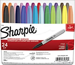 Sharpie 75846 Permanent Markers, Fine Point, Assorted Colors, 24-Count