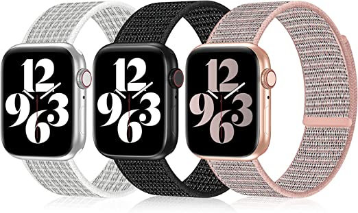iWabcertoo 3 Pack Nylon Sport Loop Bands Compatible with Apple Watch Bands 38MM 40MM 41MM 42MM 44MM 45MM Women and Men, Nylon Velcro Sport Soft Replacement Wristband Compatible for iWatch Series 7 6 5 4 3 2 1 SE