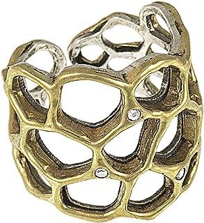 Waxing Poetic Honey Love Open Band Honeycomb Ring