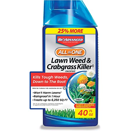 BioAdvanced 704140 All-in-One Lawn Weed and Crabgrass Killer Garden Herbicide, 32 oz, Concentrate
