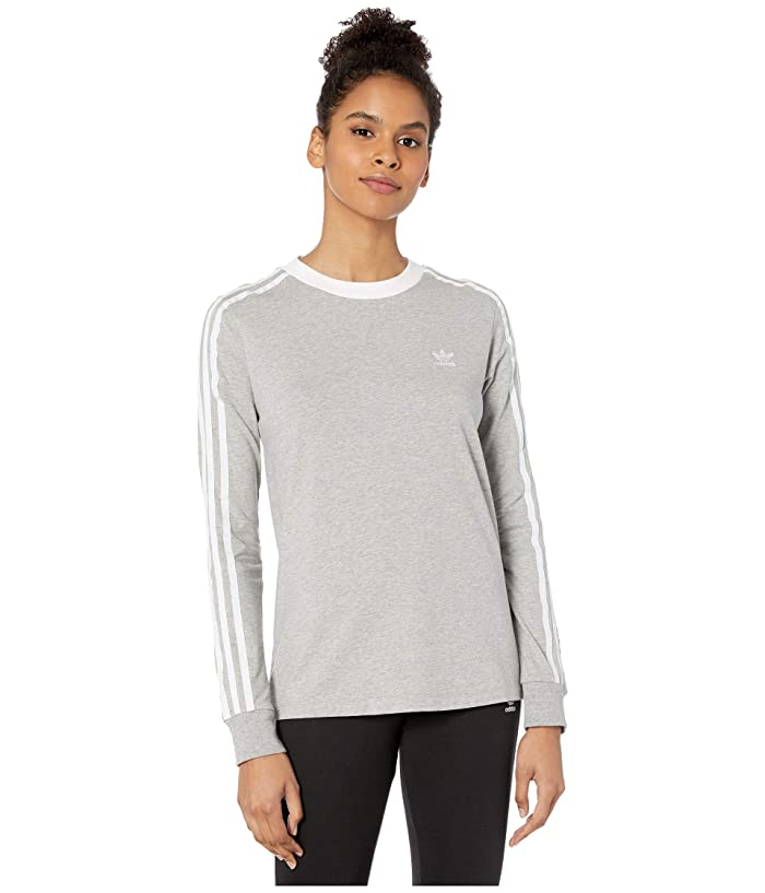 adidas Originals  3-Stripes Long Sleeve Tee (Medium Grey Heather/White) Womens Long Sleeve Pullover